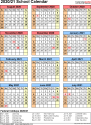 Template 7: School calendar 2020/21 for Word, portrait orientation, year at a glance, 1 page