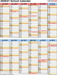 Template 5: School year calendar 2020/21 in Microsoft Excel format, portrait orientation, 1 page, two 6-months blocks
