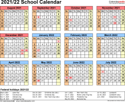 Download Template 4: School calendar 2021/22 in PDF format, landscape, 1 page, year at a glance