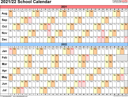 Template 3: School calendar 2021/22 for PDF, landscape orientation, days horizontally (linear), 1 page