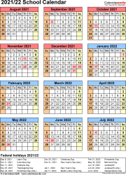 Template 7: School calendar 2021/22 for Word, portrait orientation, year at a glance, 1 page