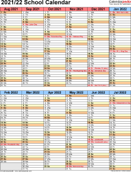 Template 5: School year calendar 2021/22 as Word template, portrait orientation, 1 page, two 6-months blocks