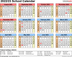 Download Template 4: School calendar 2022/23 in PDF format, landscape, 1 page, year at a glance