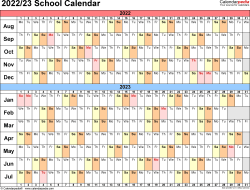 School year calendar templates for 2022/2023 in Microsoft Excel format