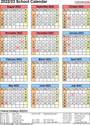 Download Template 7: School calendar 2022/23 in PDF format, portrait, 1 page, year at a glance