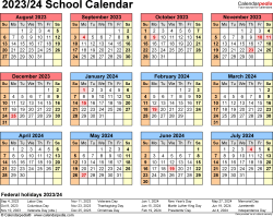 Template 4: School calendar 2023/24 for Excel, landscape orientation, year at a glance, 1 page