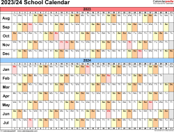Template 3: School calendar 2023/24 for Excel, landscape orientation, days horizontally (linear), 1 page