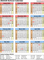 Template 7: School calendar 2023/24 for Excel, portrait orientation, year at a glance, 1 page