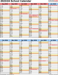 Template 5: School year calendar 2023/24 in Microsoft Excel format, portrait orientation, 1 page, two 6-months blocks