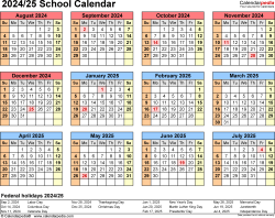 Download Template 4: School calendar 2024/25 in PDF format, landscape, 1 page, year at a glance