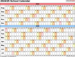 Download Template 3: School calendar 2024/25 in PDF format, landscape, 1 page, linear