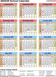 Download Template 7: School calendar 2024/25 in PDF format, portrait, 1 page, year at a glance