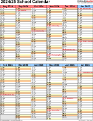 Download Template 5: School year calendar 2024/25 in PDF format, portrait orientation, 1 page, two 6-months blocks