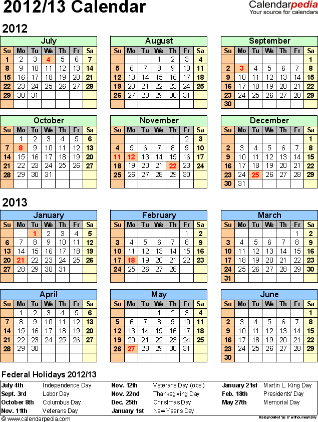 Template 2: Excel template for split year calendar 2012/13 (portrait orientation, 1 page)