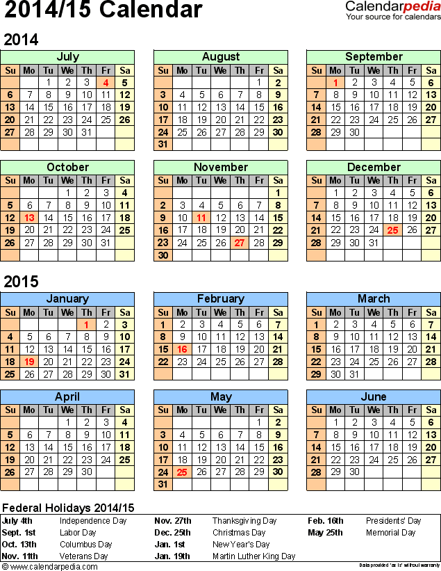 Split Year Calendar 201415 July To June Excel Templates