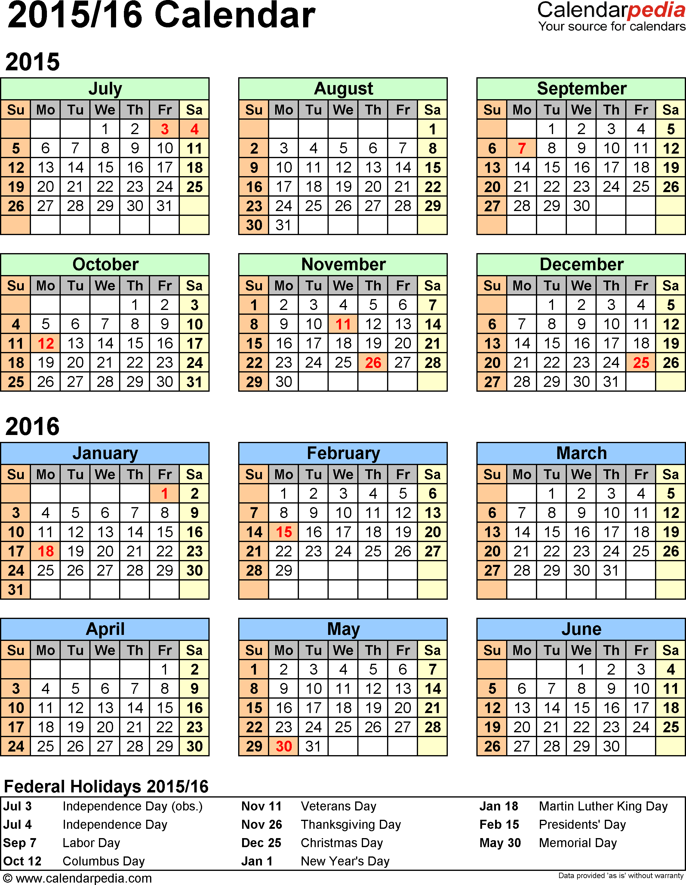 Split year calendar 2015/16 - printable Word templates
