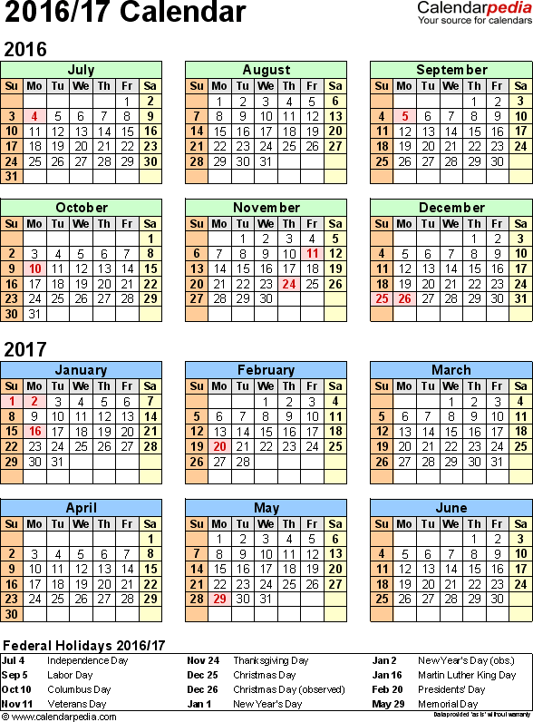 Split year calendar 2016/17 - printable Excel templates