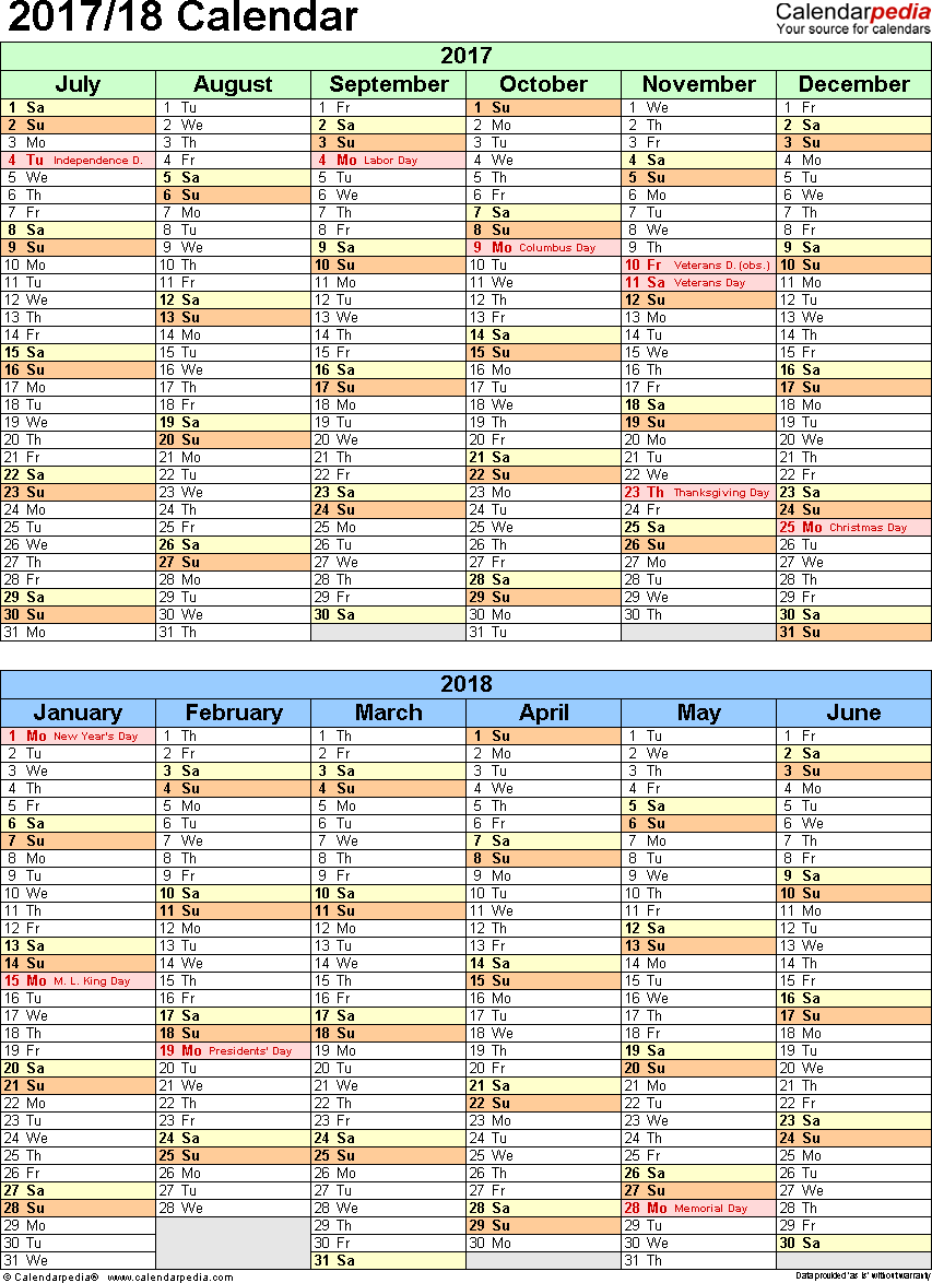 Template 5: Excel template for split year calendar 2017/18 (portrait orientation, 1 page, two 6-months blocks)