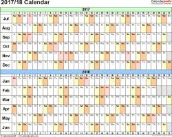 Template 2: PDF template for split year calendar 2017/18 (landscape orientation, days horizontally (linear), 1 page, in color)