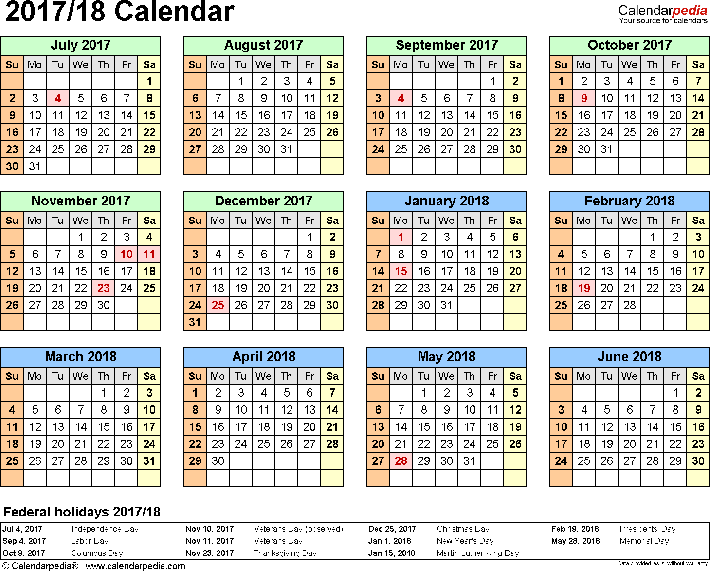 Template 3: 2017/2018 split year/half year calendar, for PDF, landscape orientation, year at a glance, 1 page