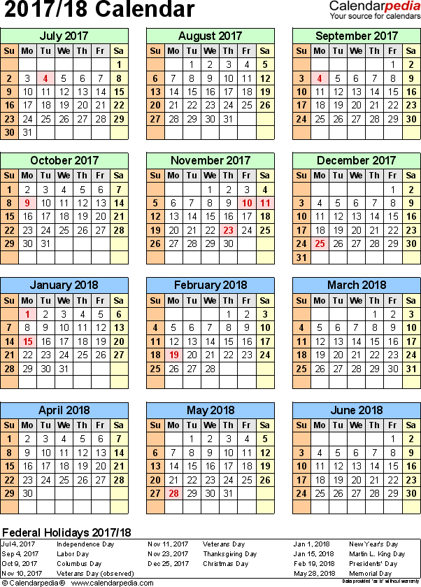 Template 6: Excel template for split year calendar 2017/18 (portrait orientation, 1 page)