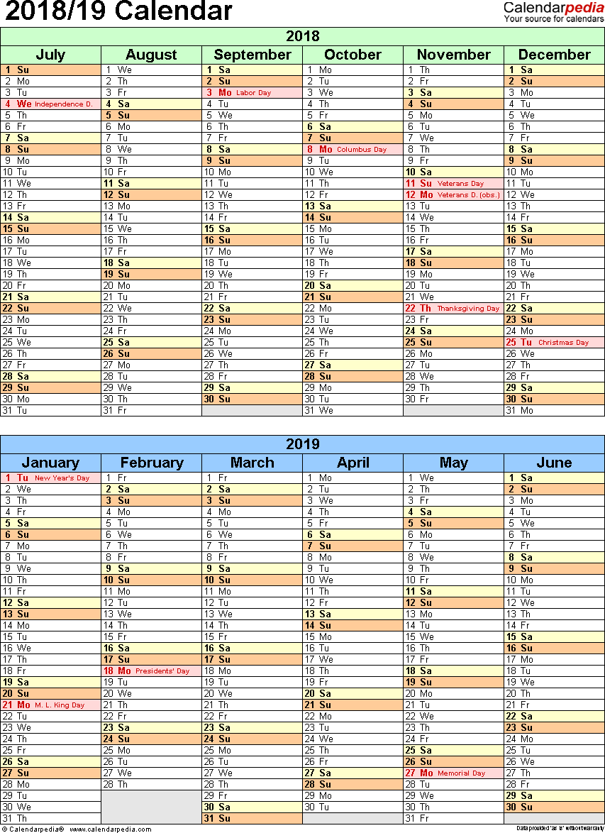 Template 5: Word template for split year calendar 2018/19 (portrait orientation, 1 page, two 6-months blocks)