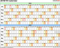 Template 2: Word template for split year calendar 2018/19 (landscape orientation, days horizontally (linear), 1 page, in color)