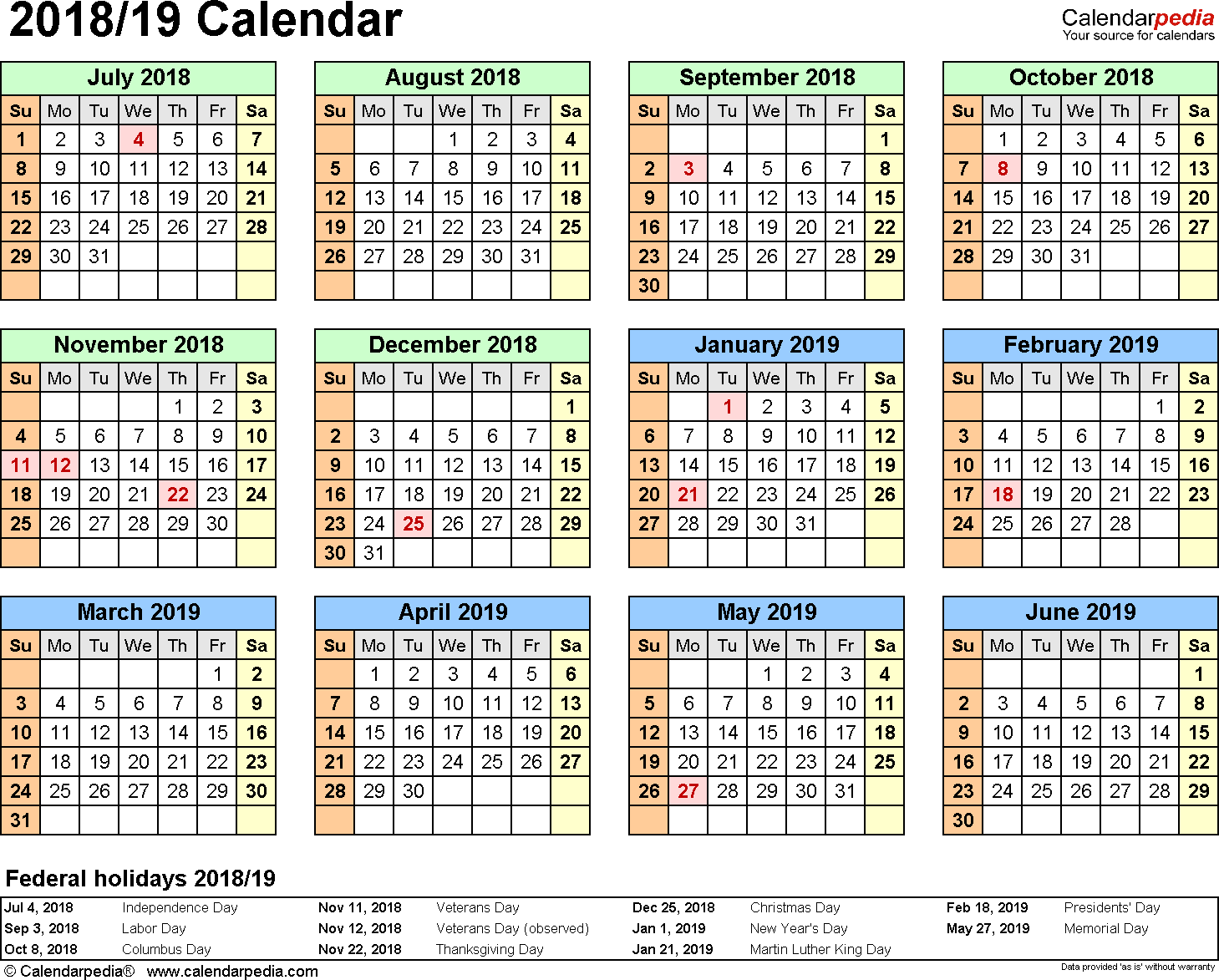 Template 3: 2018/2019 split year/half year calendar, for PDF, landscape orientation, year at a glance, 1 page