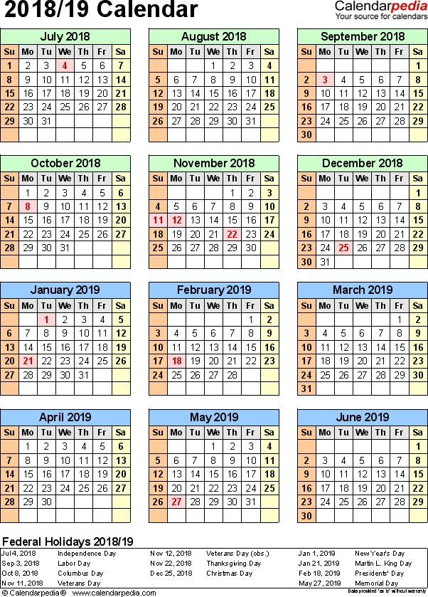 Template 5: PDF template for split year calendar 2018/19 (portrait orientation, 1 page)