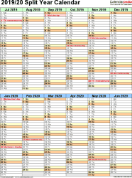 Template 5: Excel template for split year calendar 2019/20 (portrait orientation, 1 page, two 6-months blocks)
