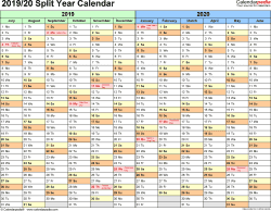 Template 1: Excel template for split year calendar 2019/20 (landscape orientation, months horizontally, 1 page)