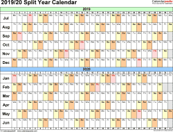 Template 2: PDF template for split year calendar 2019/20 (landscape orientation, days horizontally (linear), 1 page, in color)