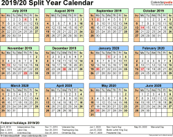 Template 3: 2019/2020 split year/half year calendar, for PDF, landscape orientation, year at a glance, 1 page