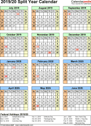 Template 6: PDF template for split year calendar 2019/20 (portrait orientation, 1 page)