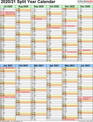 Template 5: PDF template for split year calendar 2020/21 (portrait orientation, 1 page, two 6-months blocks)