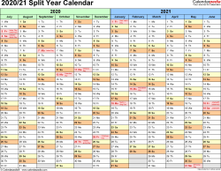 Template 1: PDF template for split year calendar 2020/21 (landscape orientation, months horizontally, 1 page)