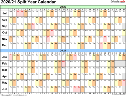 Template 2: PDF template for split year calendar 2020/21 (landscape orientation, days horizontally (linear), 1 page, in color)