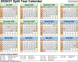 Template 3: 2020/2021 split year/half year calendar, for PDF, landscape orientation, year at a glance, 1 page