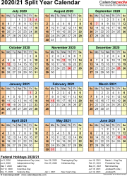 Split year calendar templates for 2020/2021 in Microsoft Excel format