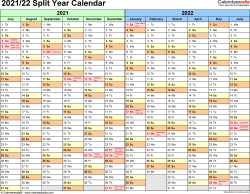 Template 1: Excel template for split year calendar 2021/22 (landscape orientation, months horizontally, 1 page)