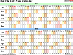 Template 3: PDF template for split year calendar 2021/22 (landscape orientation, days horizontally (linear), 1 page, in color)