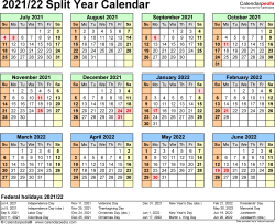 Template 4: 2021/2022 split year/half year calendar, for Microsoft Excel (.xlsx), landscape orientation, year at a glance, 1 page