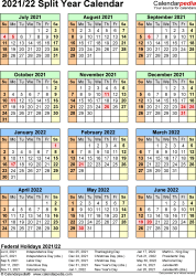 Split year calendar templates for 2021/2022 in Microsoft Word format