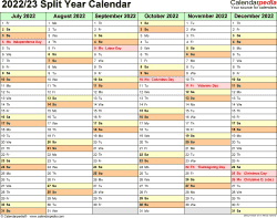 Download Template 2: Microsoft Excel template for split year calendar 2022/23 (landscape orientation, months horizontally, 2 pages)