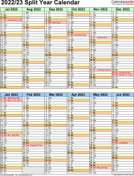 Download Template 5: Microsoft Excel template for split year calendar 2022/23 (portrait orientation, 1 page, two 6-months blocks)