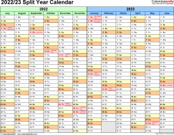 Split year calendar templates for 2022/2023 in PDF format