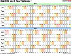 Download Template 3: Microsoft Excel template for split year calendar 2022/23 (landscape orientation, days horizontally (linear), 1 page, in color)