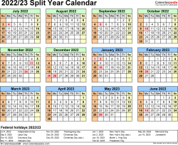 Download Template 4: 2022/2023 split year/half year calendar for Microsoft Excel (.xlsx file), landscape, 1 page, year at a glance