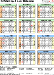 Split year calendar templates for 2022/2023 in Microsoft Excel format