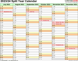 Template 2: PDF template for split year calendar 2023/24 (landscape orientation, months horizontally, 2 pages)